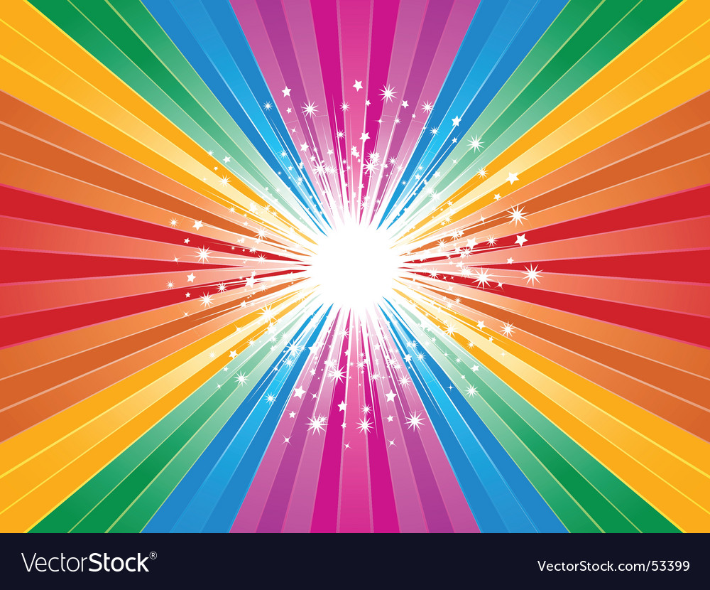 Rainbow starburst background vector image
