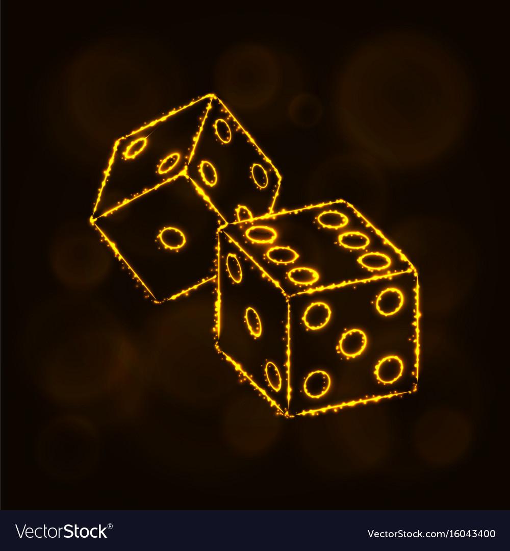 Dice icon silhouette of lights casino symbol vector image