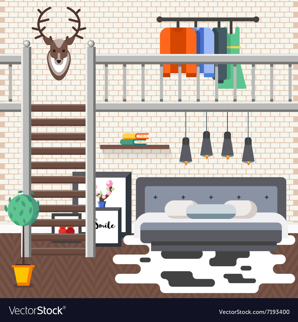 Loft Bed Room vector image