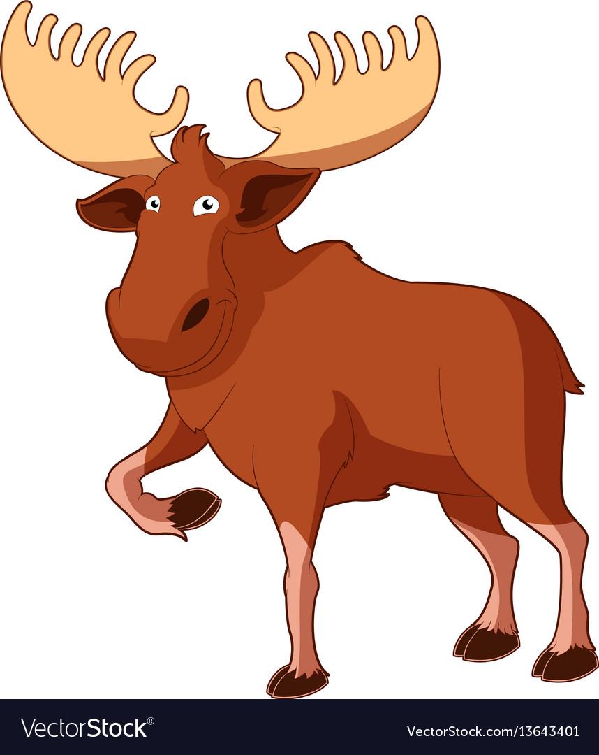 Cartoon smiling moose vector image