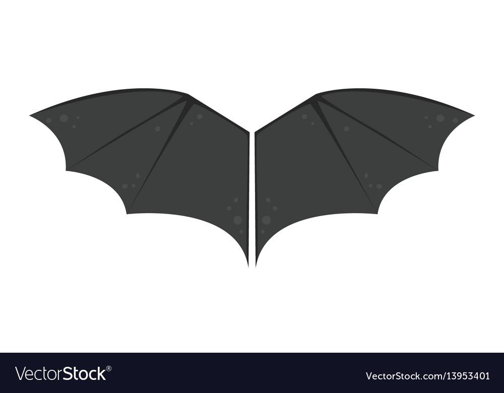 Wings isolated bat black animalwildlife fly vector image