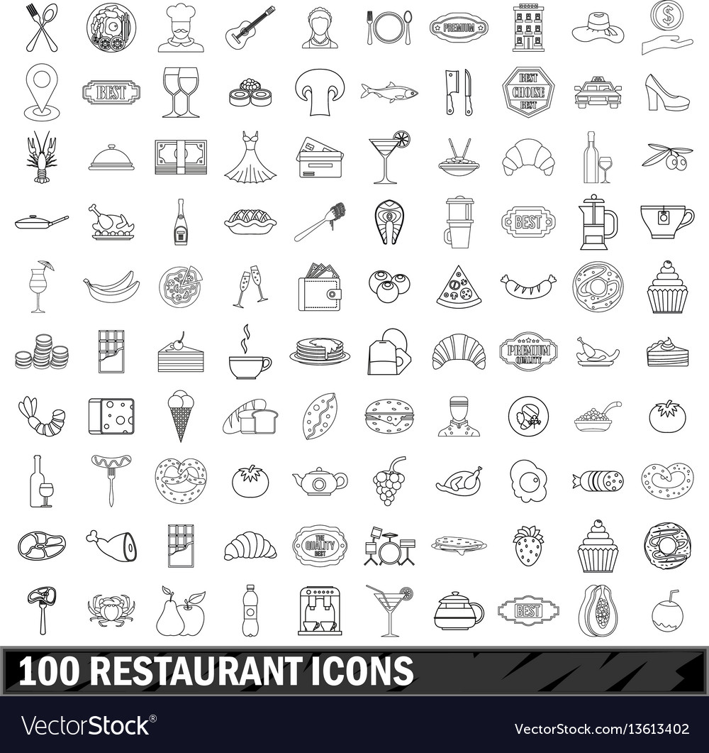 100 restaurant icons set outline style vector image