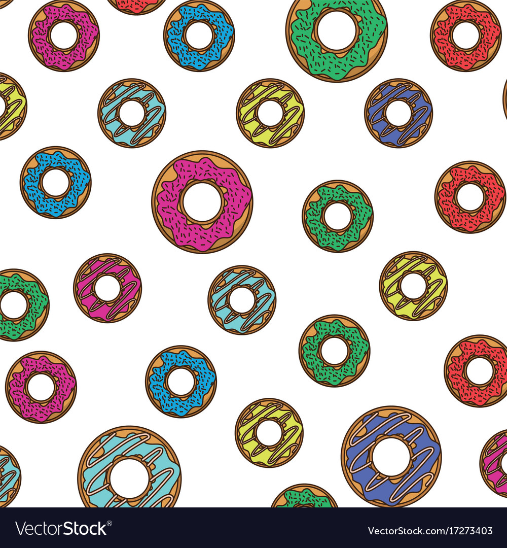 Donut pattern colorful in white background vector image