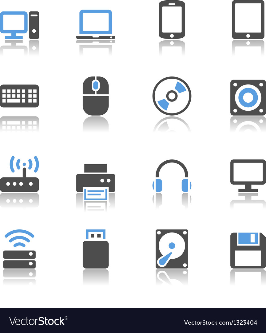 Computer icons reflection vector image