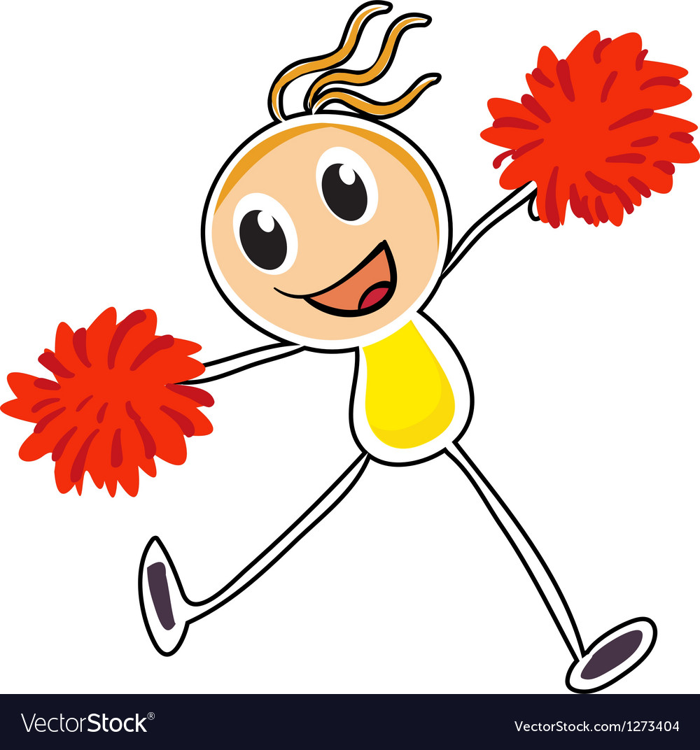 A sketch of a cheerleader with red pompoms vector image