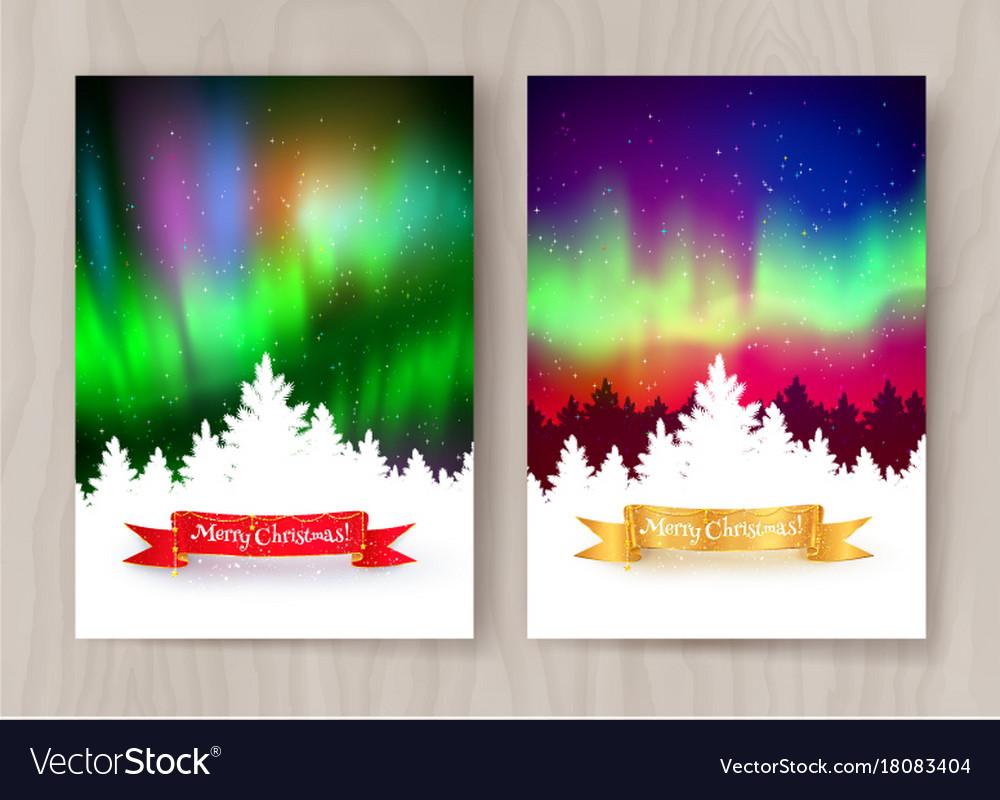Christmas postcard designs with northern lights vector image
