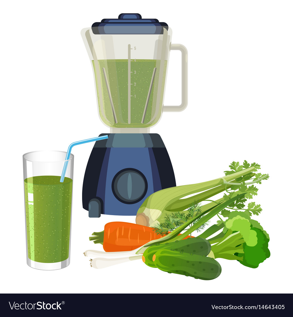 Blender and glass of smoothie made of organic vector image