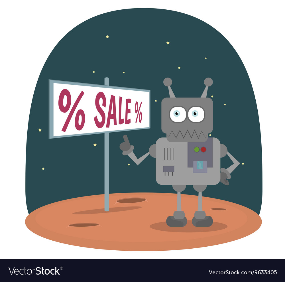 Cartoon robot standing on planet in space showing vector image