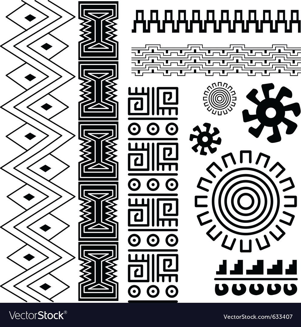 Image of ancient american pattern on white vector image