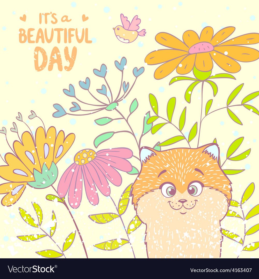 Kitten and flowers vector image