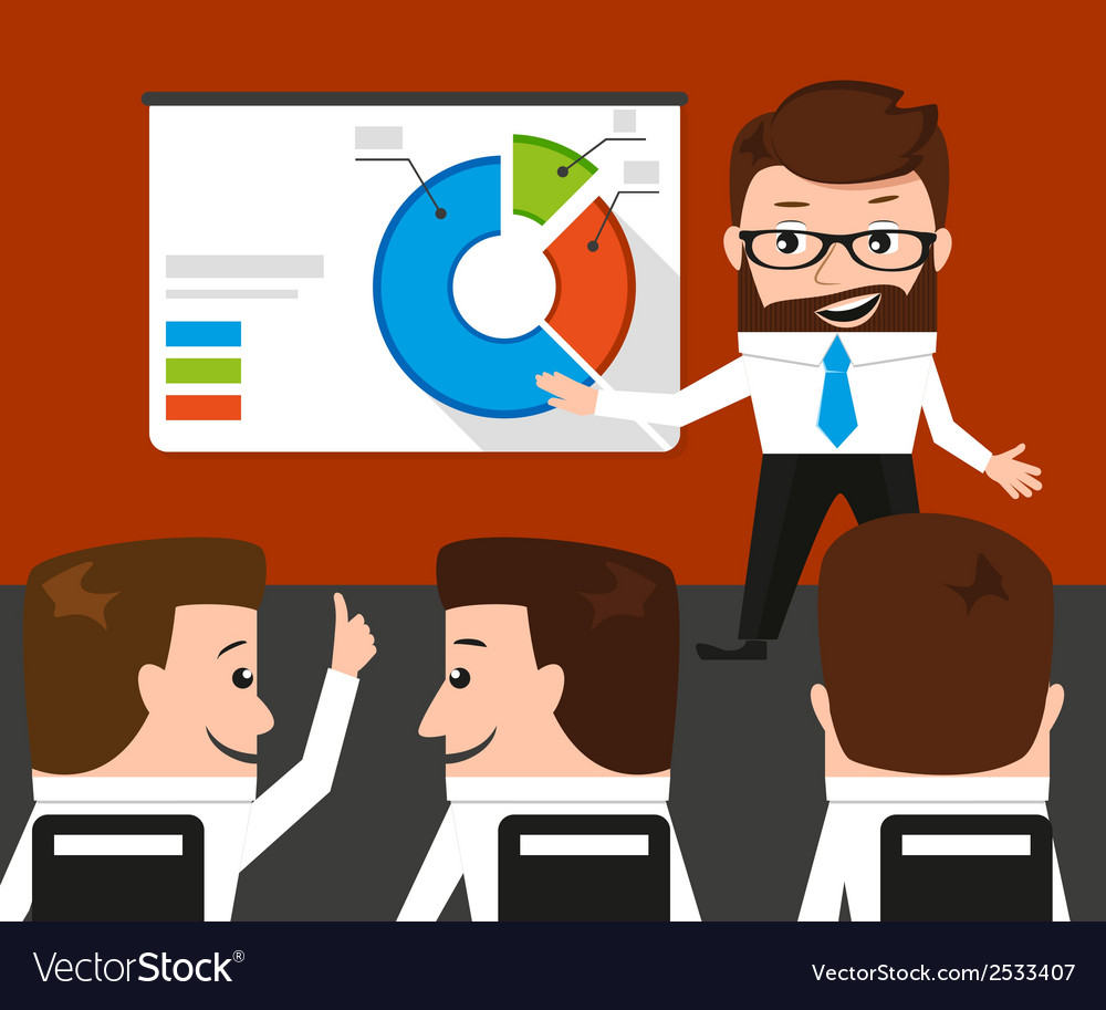 Lucky businessman is presenting a round diagram vector image