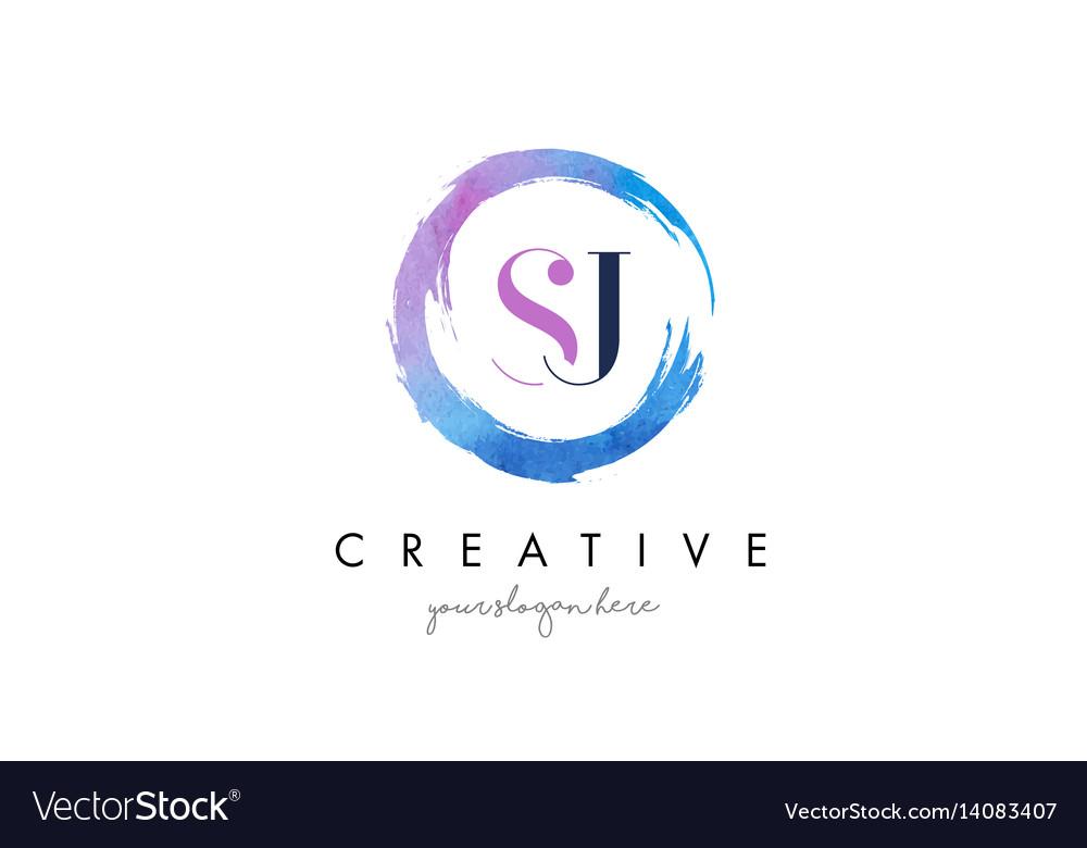 Sj letter logo circular purple splash brush vector image