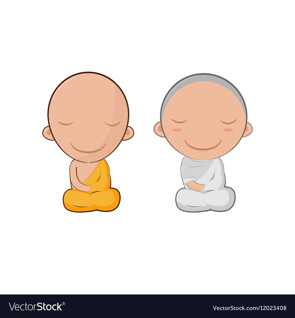 Asia Cute Monk Cartoon Symbol vector image