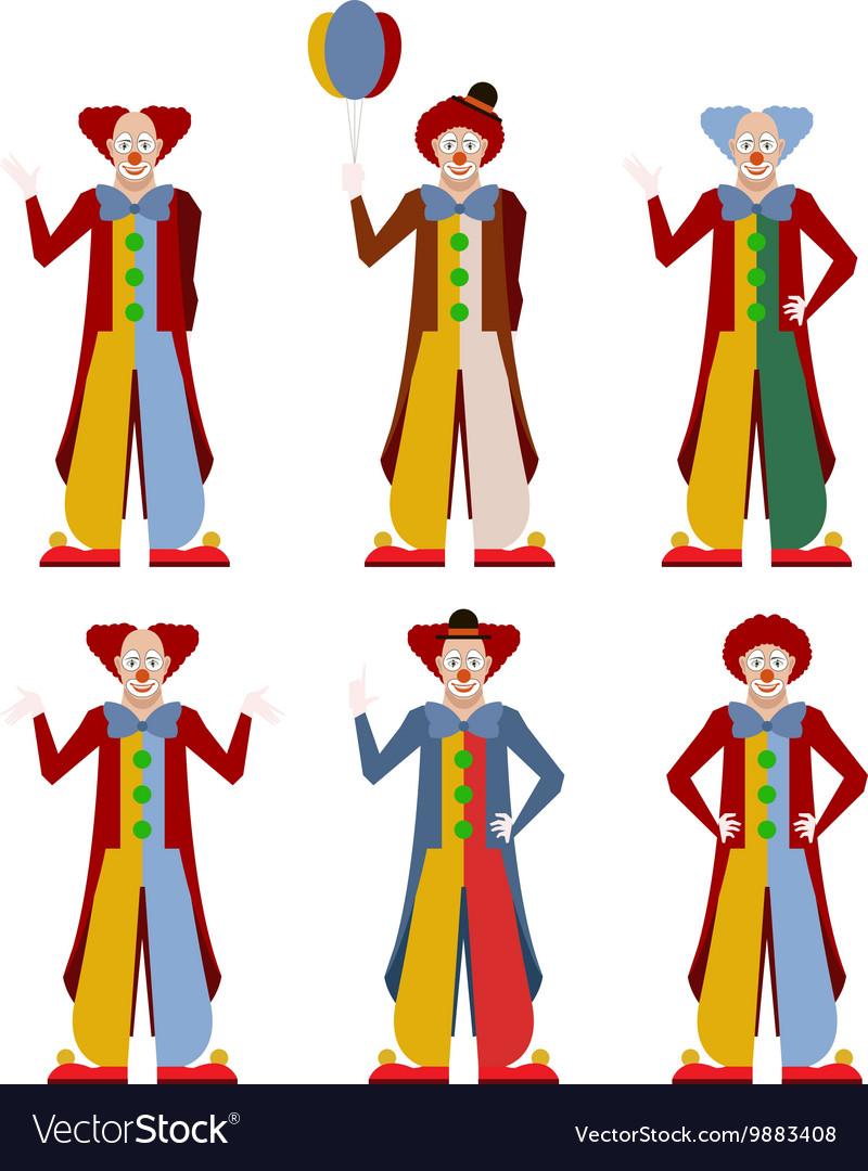 Set of clowns vector image