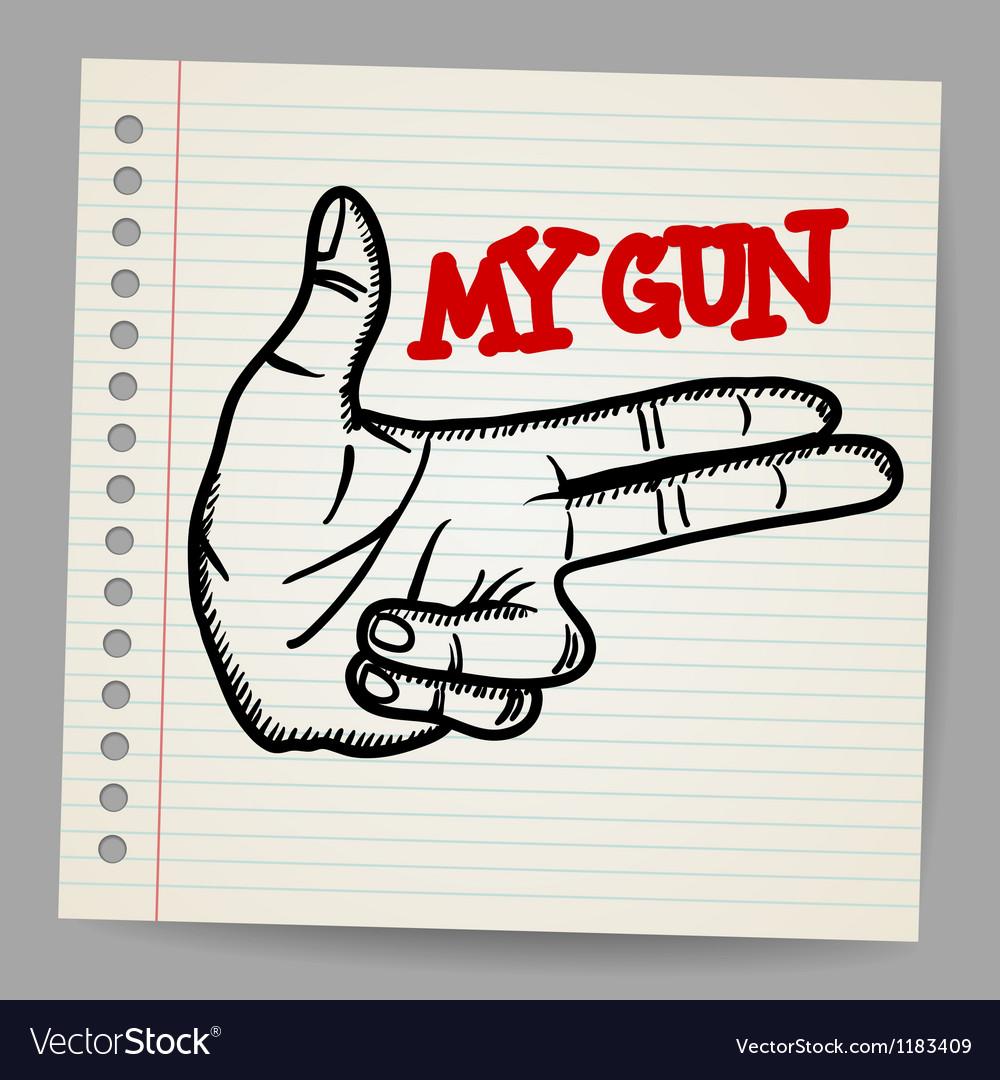 Cartoon gun two fingers sign vector image