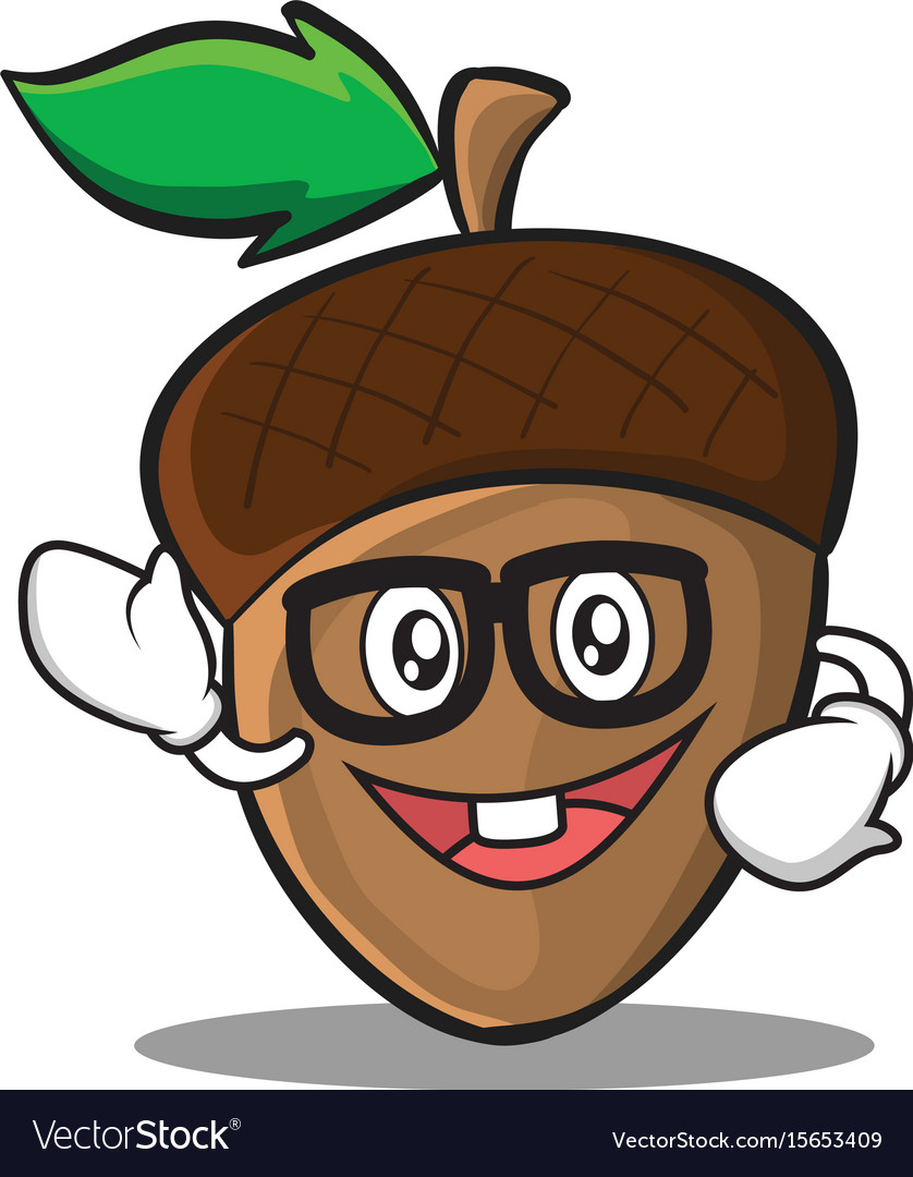 Geek acorn cartoon character style vector image