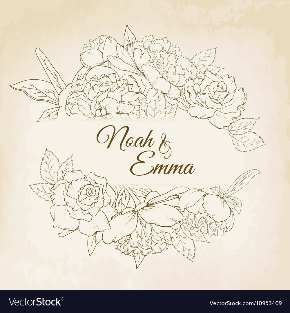 Rose and peony floral frame wedding card template vector image