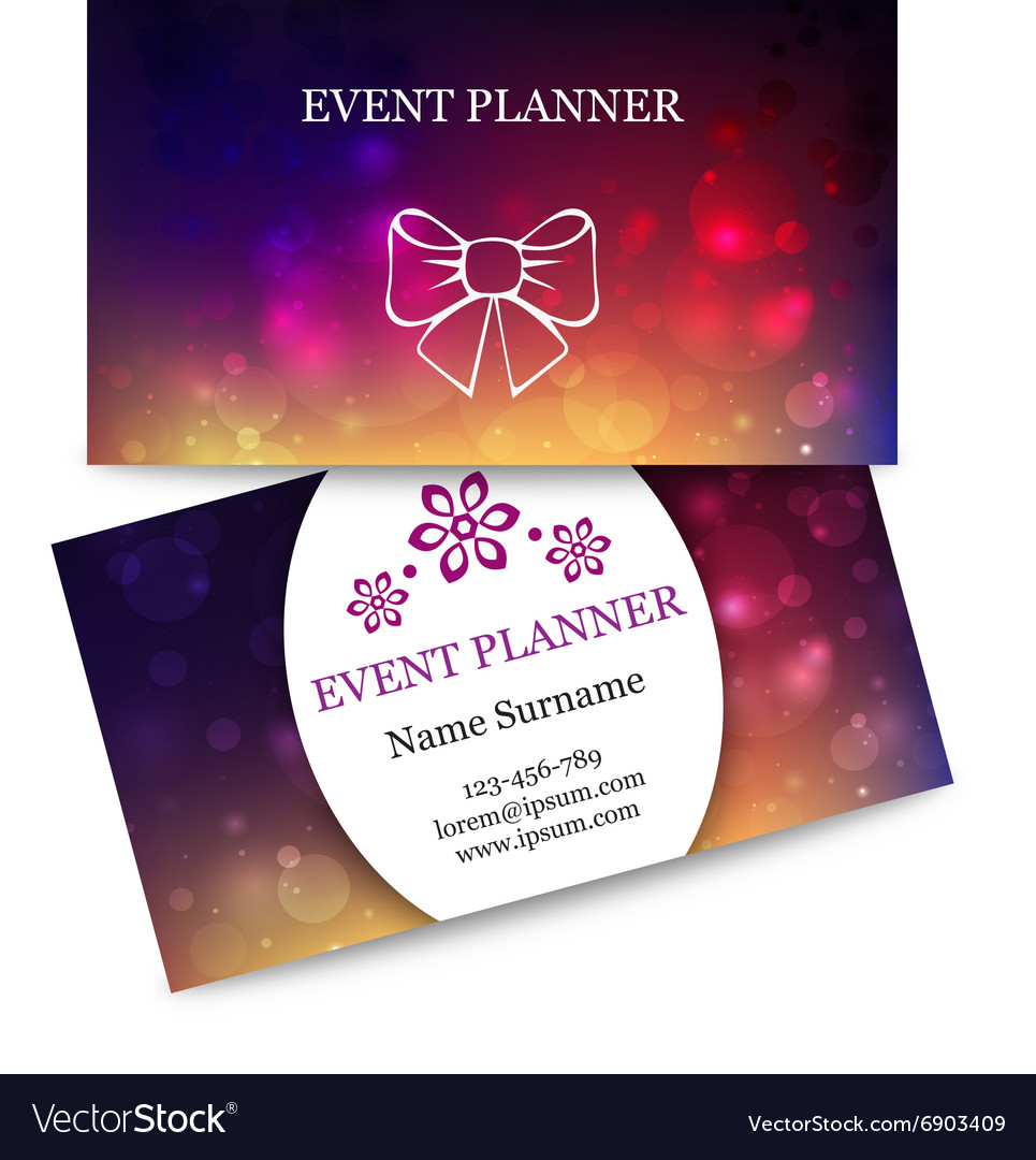 Template colorful business cards for event planner