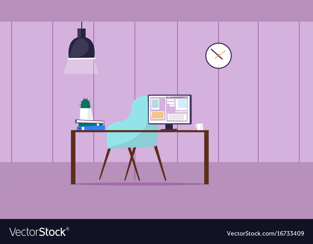Workspace room with desk and computercute room vector image