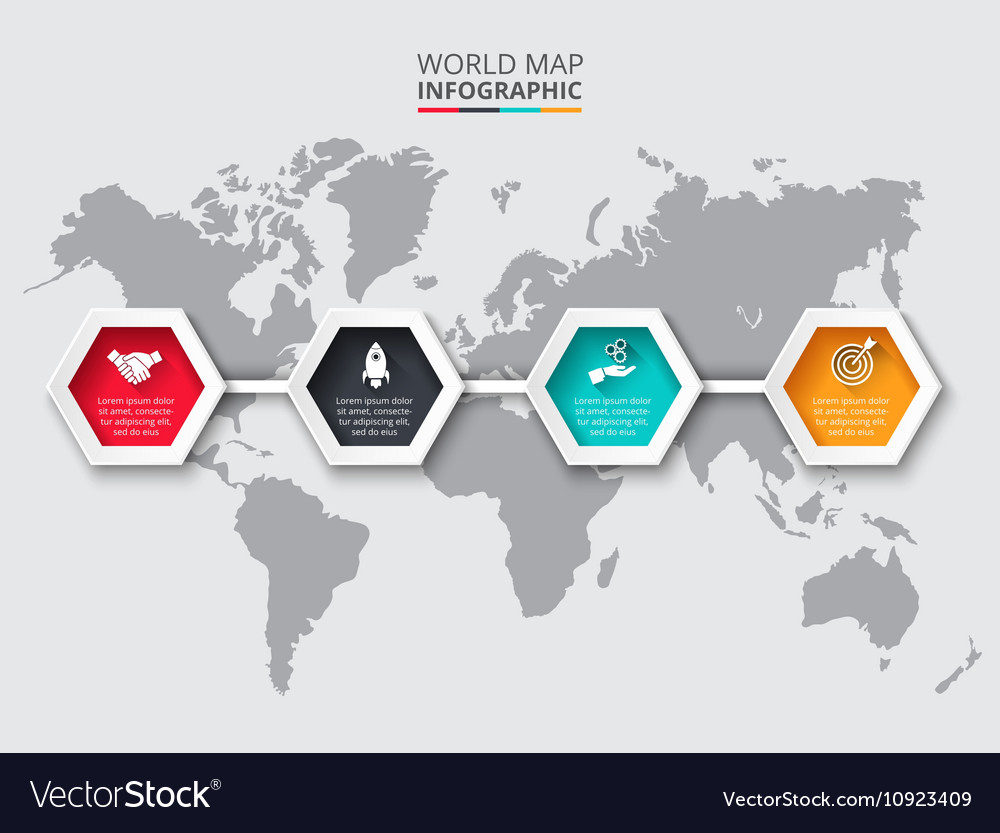 World map infographic template with hexagons vector image gumiabroncs Gallery