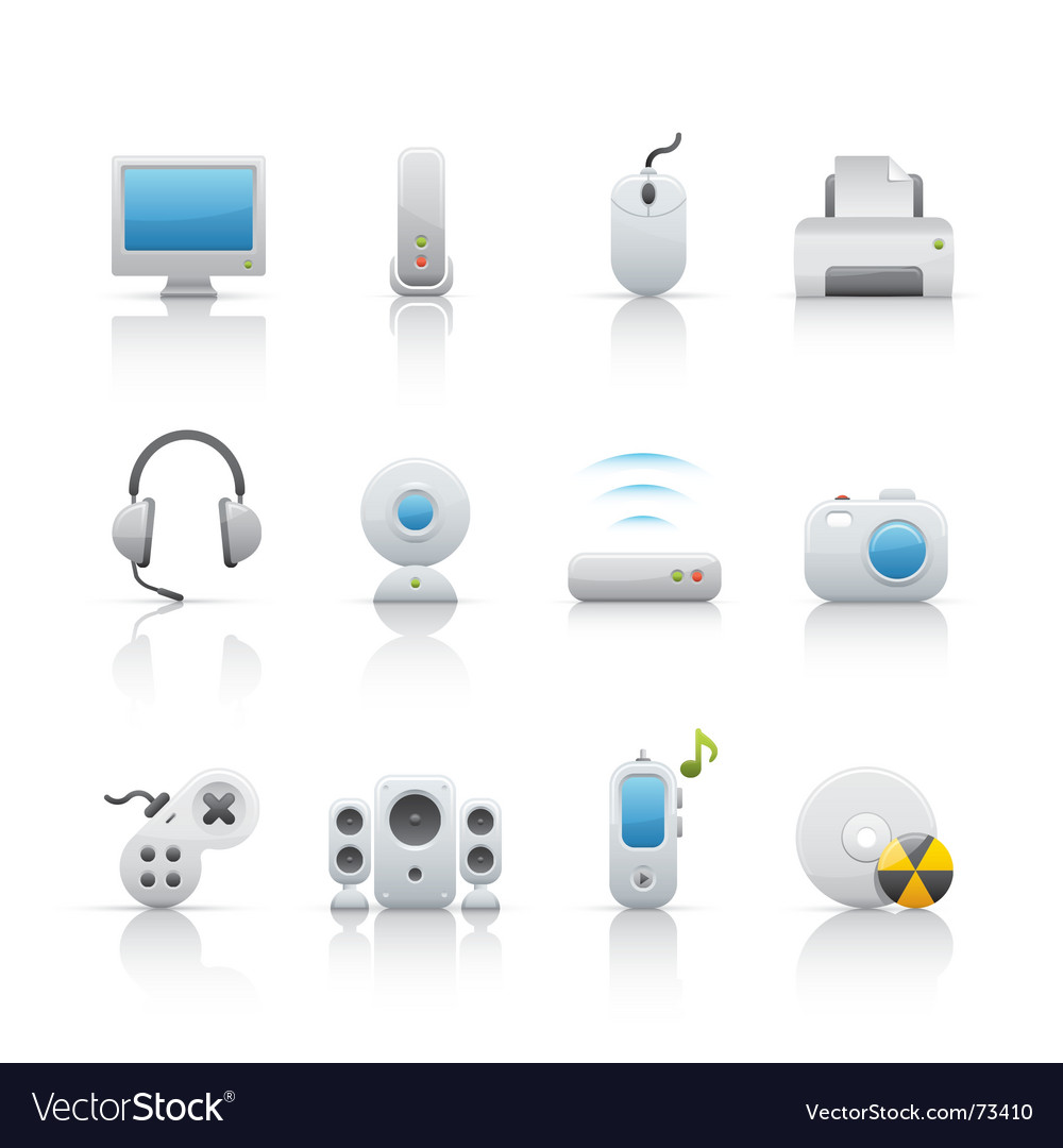 Computer equipment icons vector image