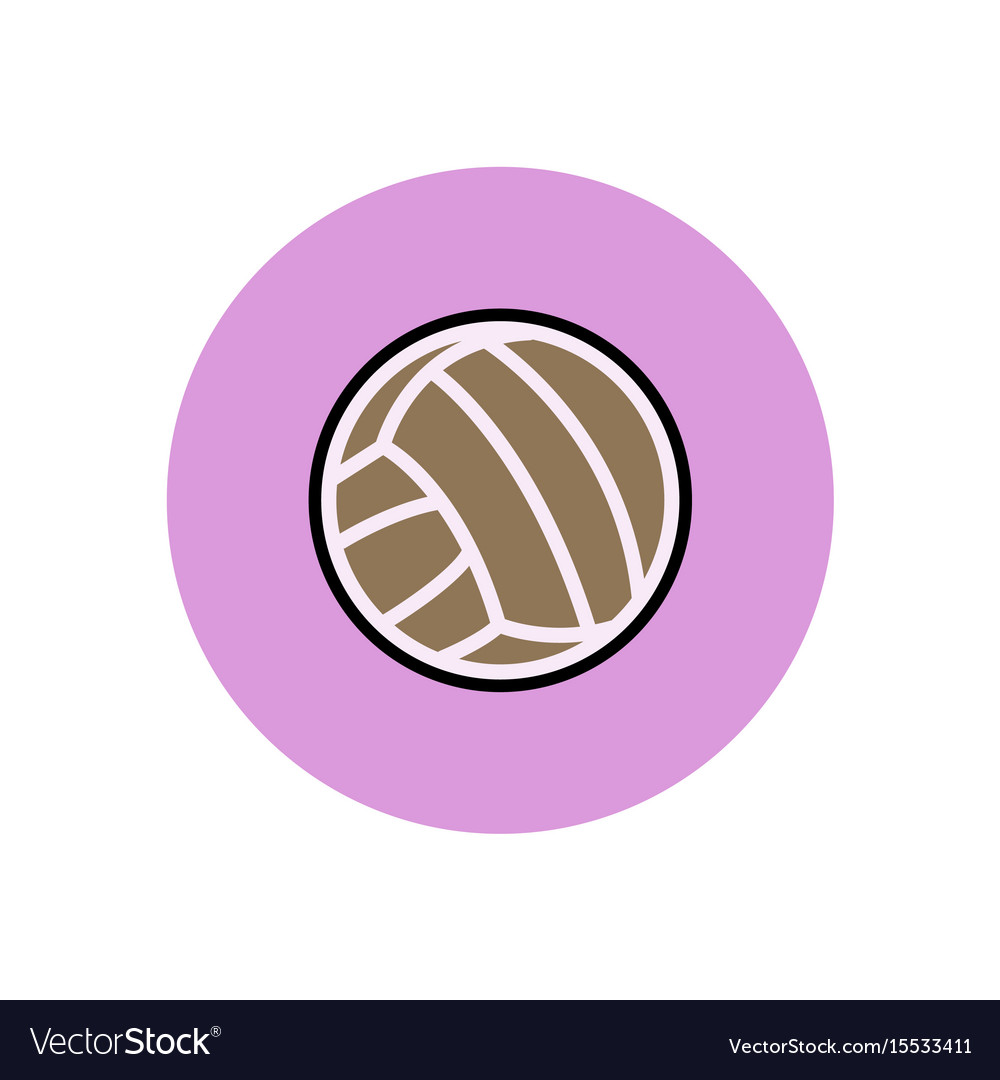 Stylish icon in color circle volleyball ball