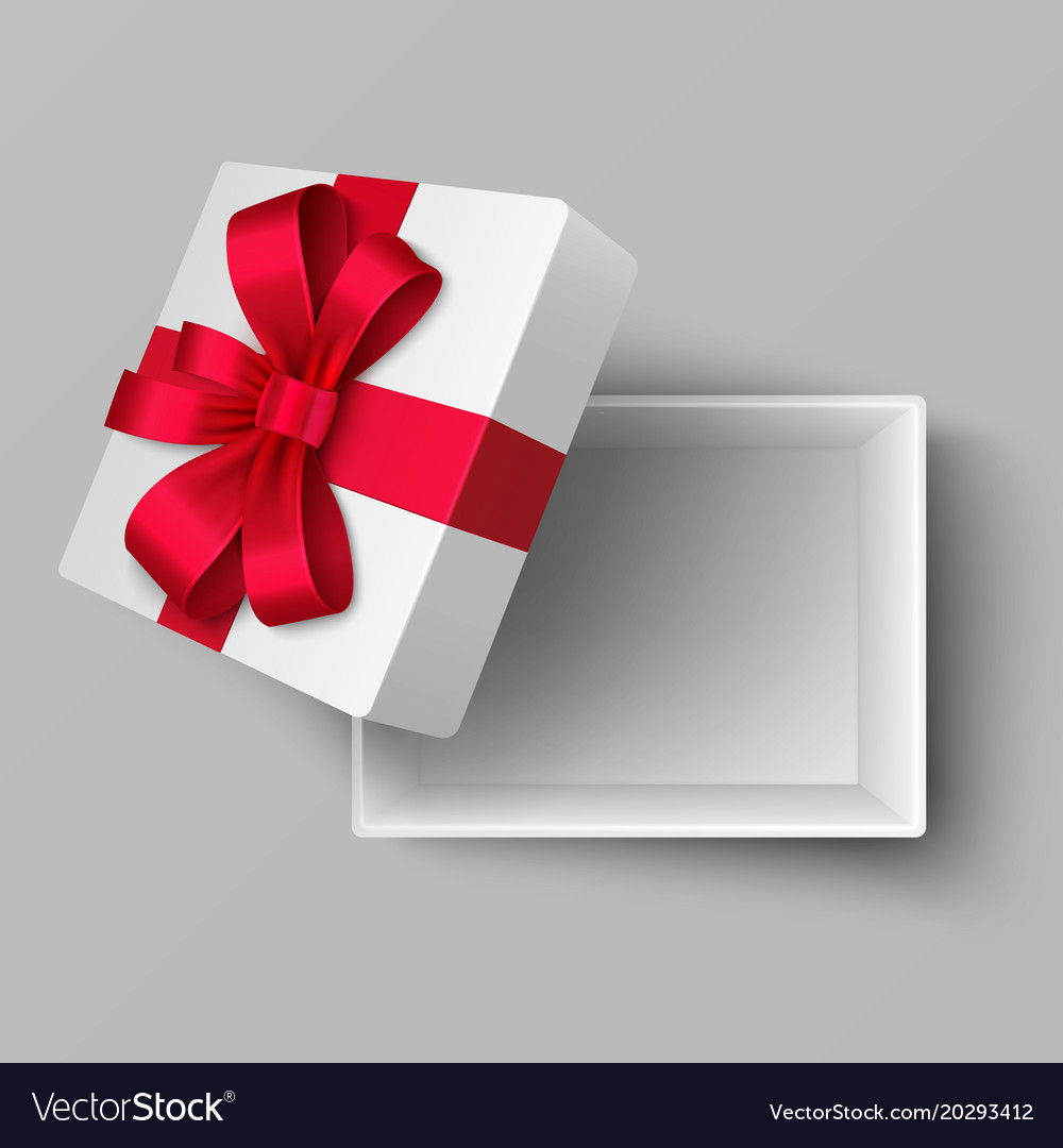 Empty open box with red silk ribbon and gift bow vector image negle Image collections