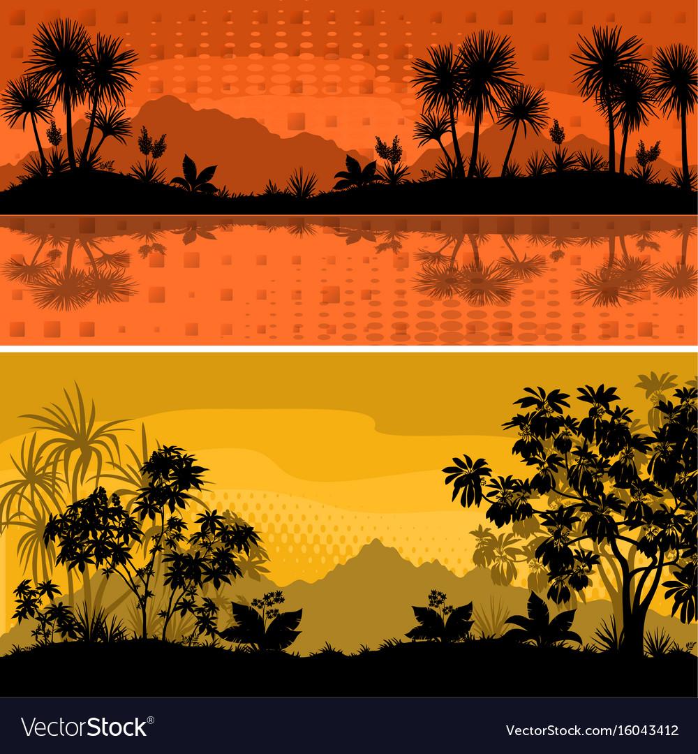 Set landscapes palms and plants vector image