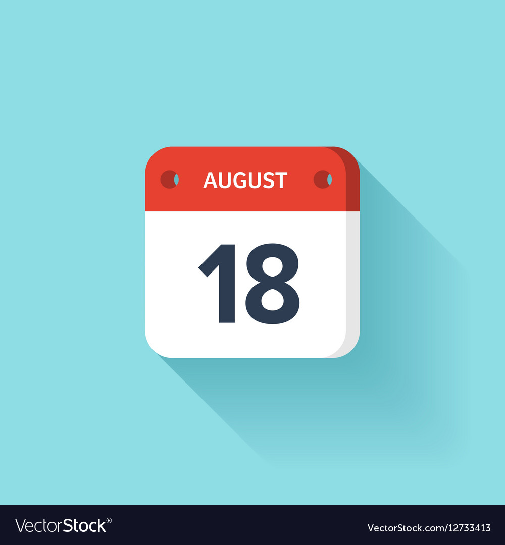August 18 Isometric Calendar Icon With Shadow vector image
