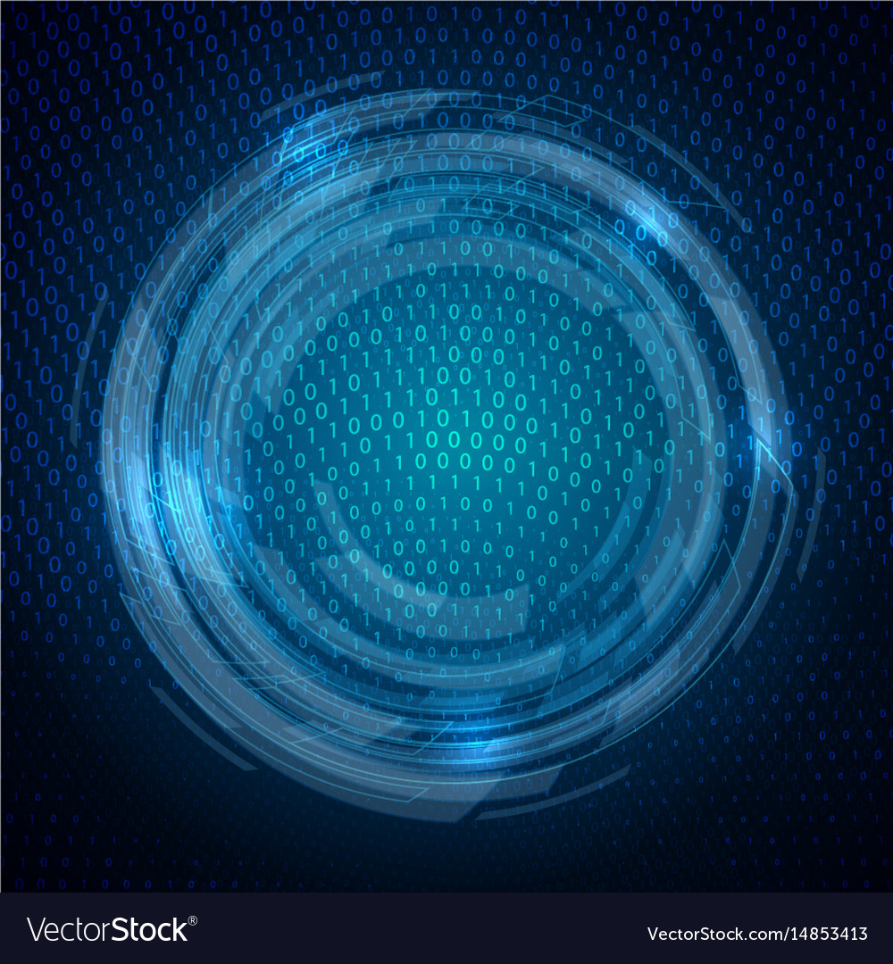 Techno binary code background vector image