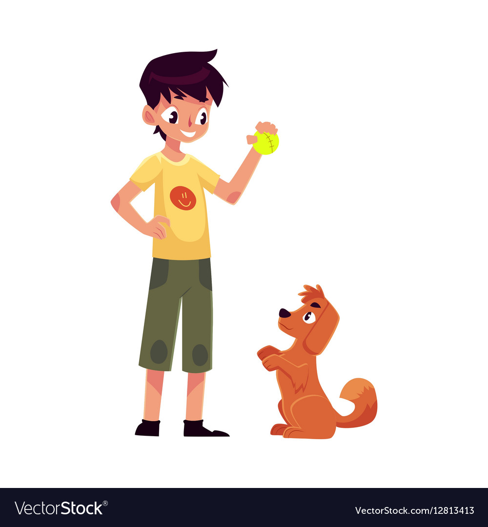Teenage boy standing and playing with his fluffy vector image