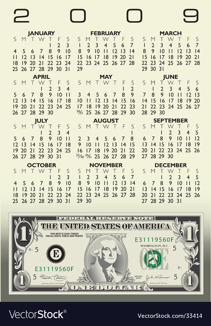 Dollar Bill Calendar Royalty Free Vector Image