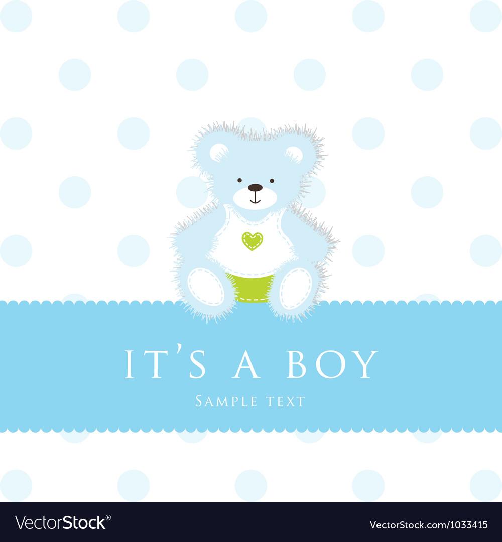 Baby Boy Teddy Card vector image
