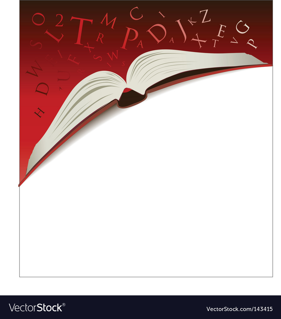 Open book background vector image