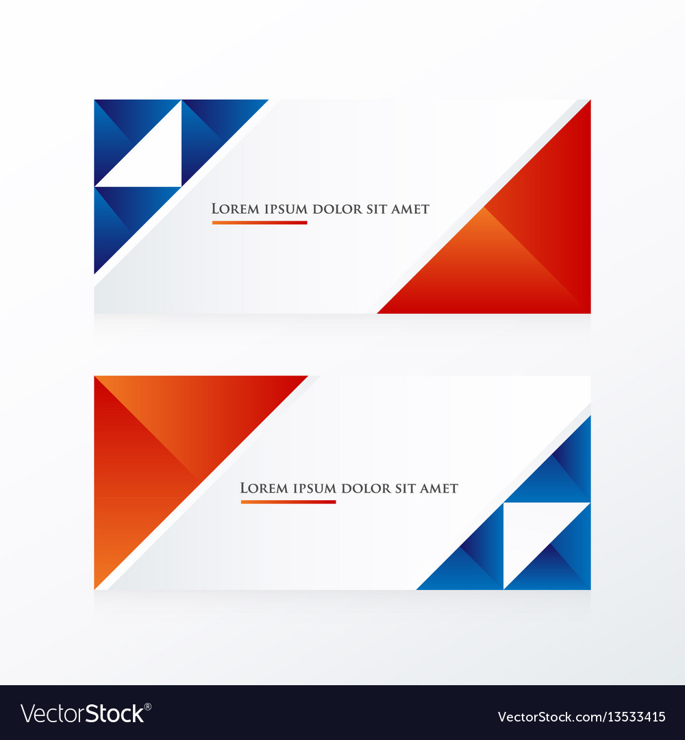 Red and blue triangle banner vector image