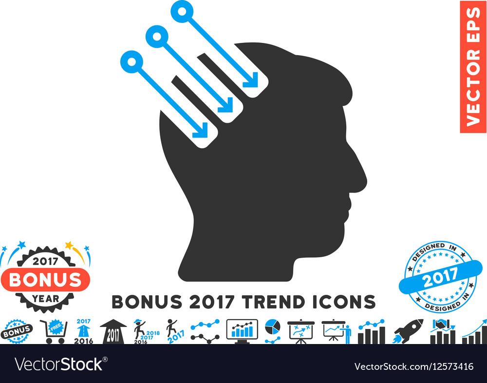 Neuro Interface Flat Icon With 2017 Bonus Trend vector image