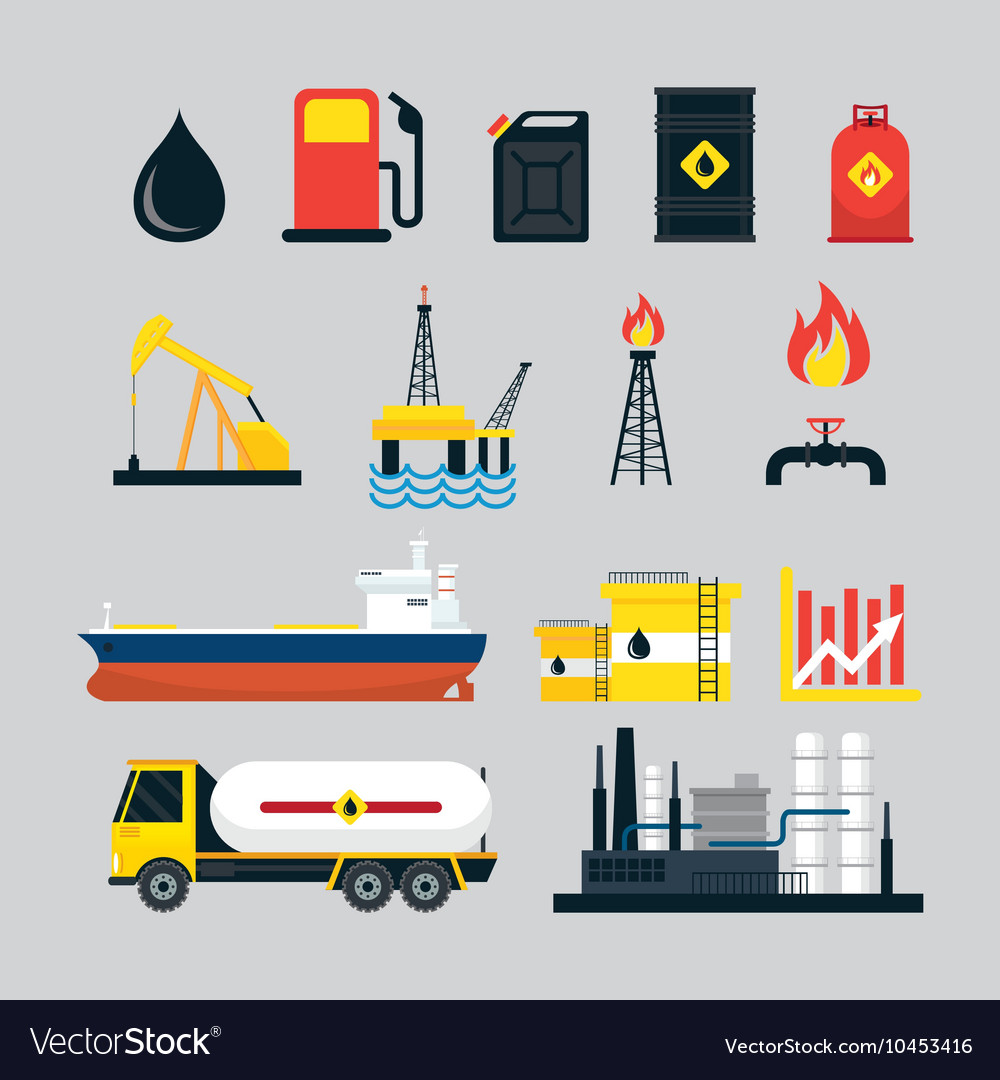 Oil Industry Object Set vector image