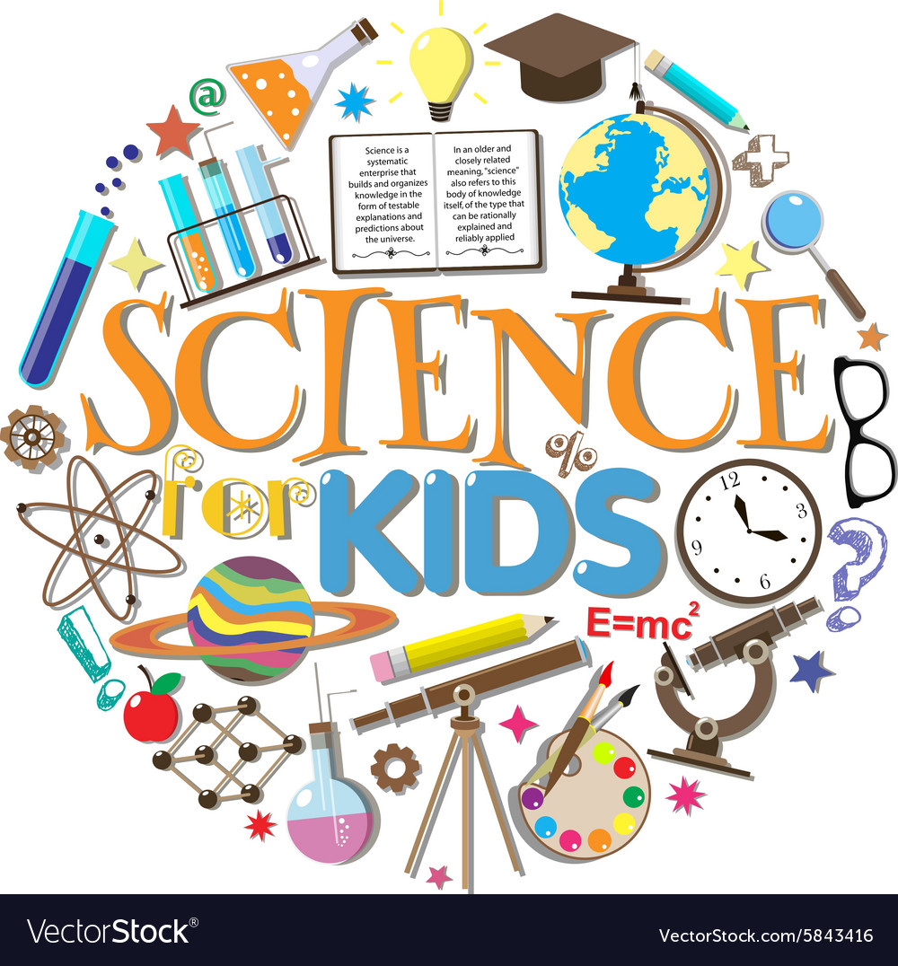 Science for kids school symbols and design vector image buycottarizona Image collections