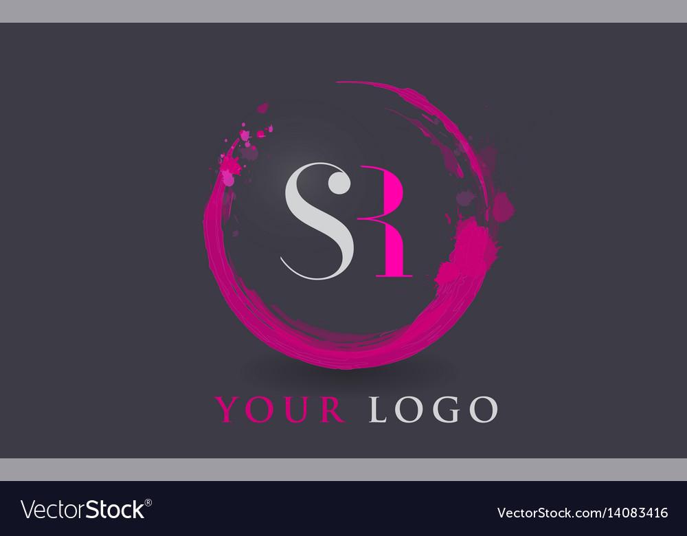 Sr letter logo circular purple splash brush vector image