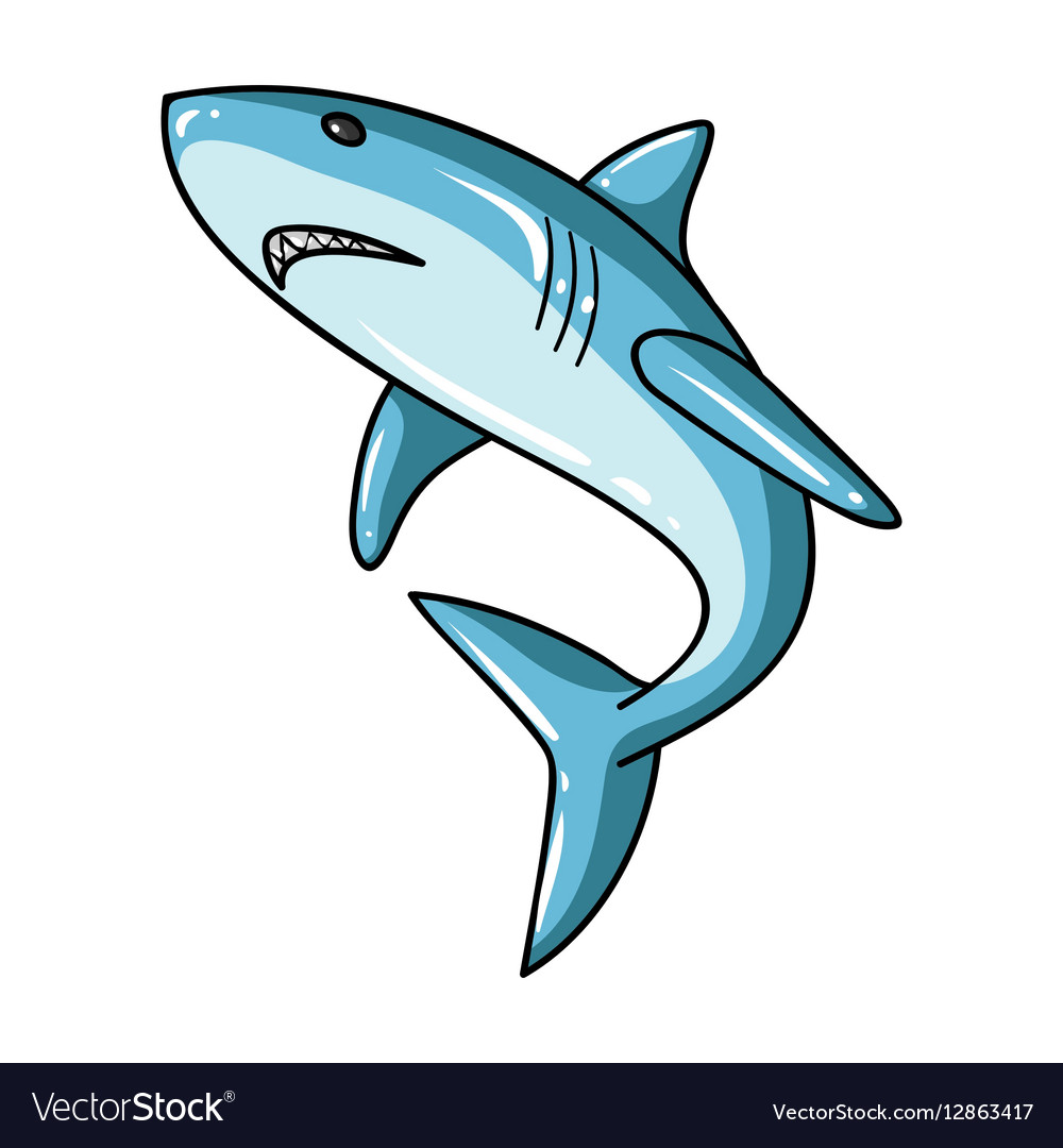 Great white shark icon in cartoon style isolated vector image