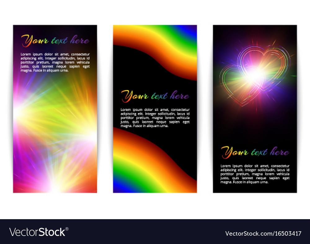 Vertical banners with bright hearts vector image