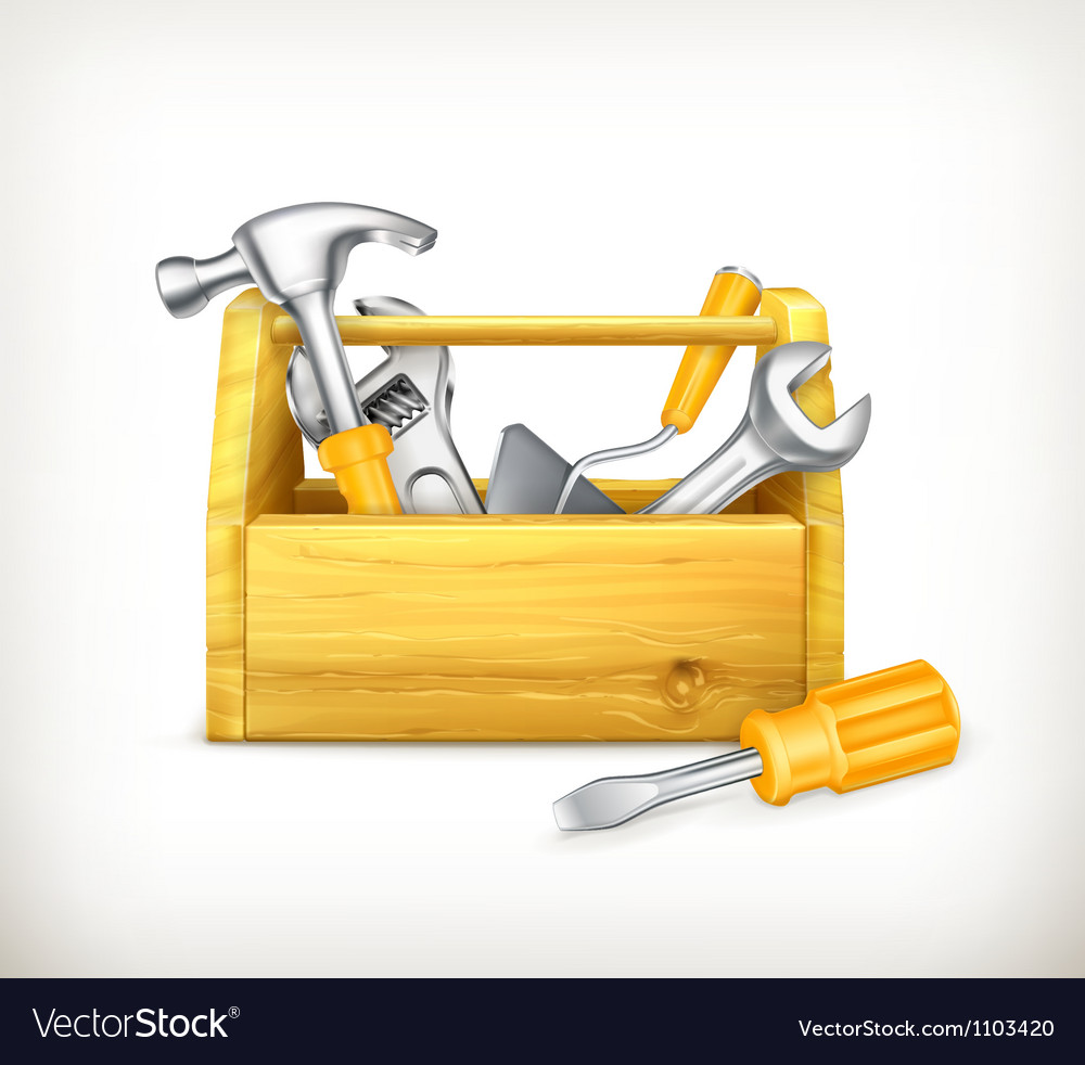 Wooden toolbox Vector Image