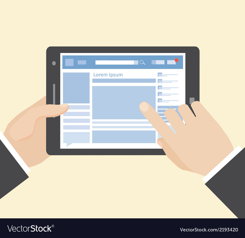 Social network on tablet vector image
