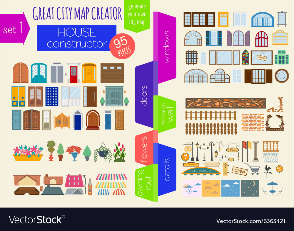Great city map creator house constructor house vector image for House map creator