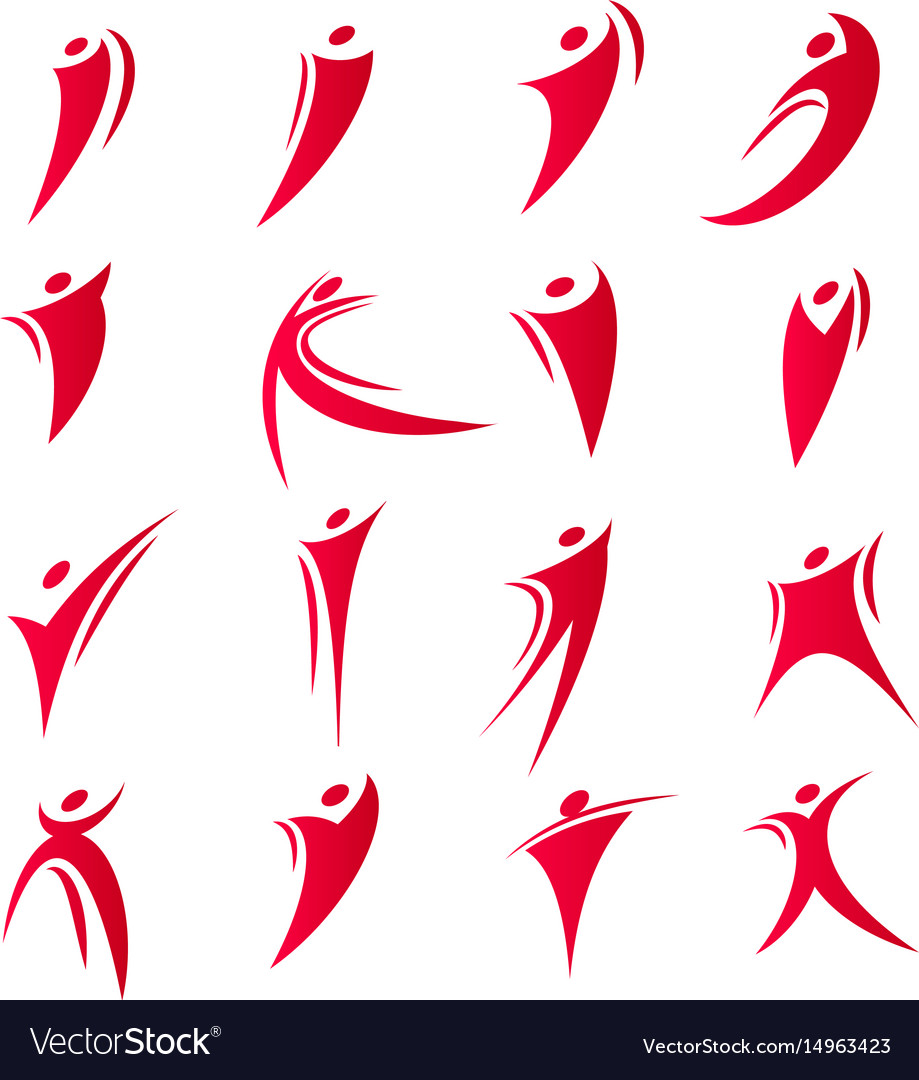 Isolated abstract red color people unity logos set vector image