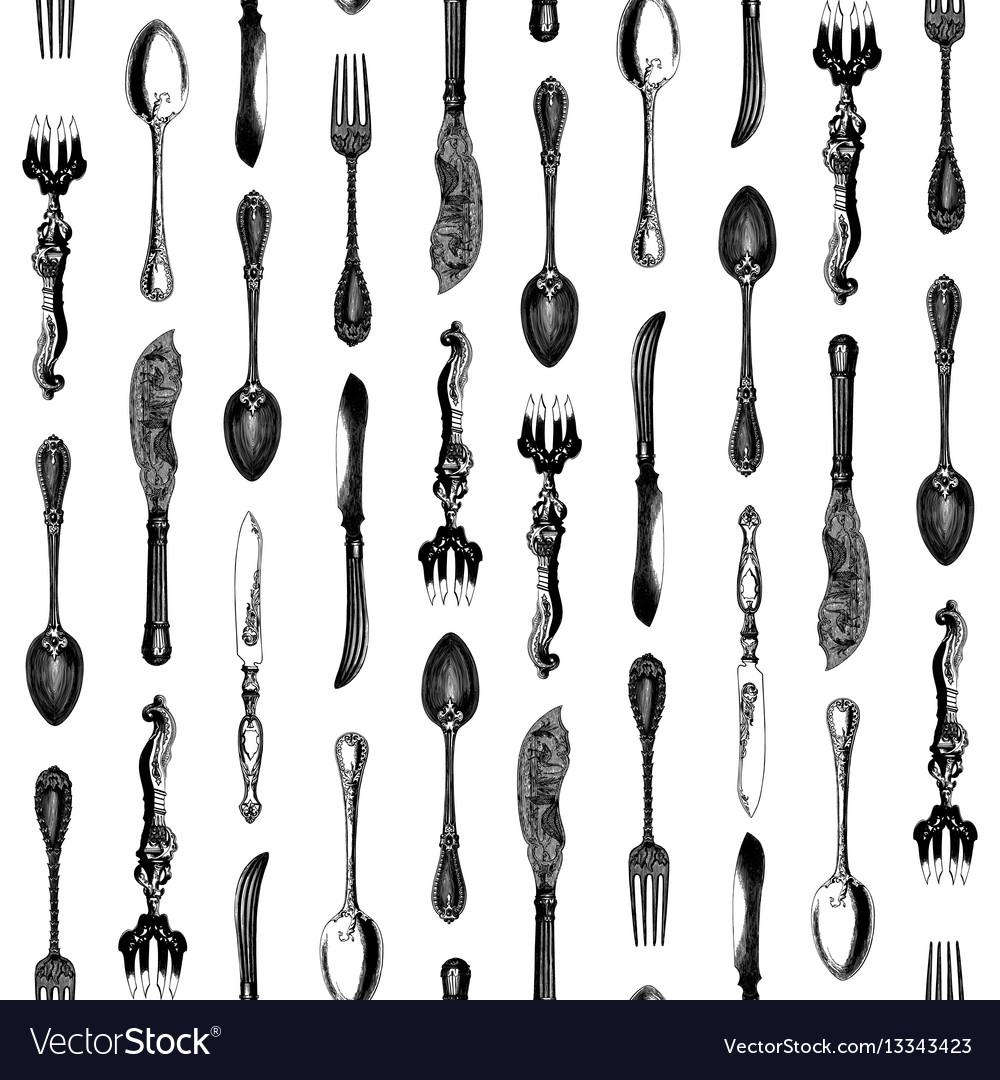 Vintage silverware seamless pattern vector image