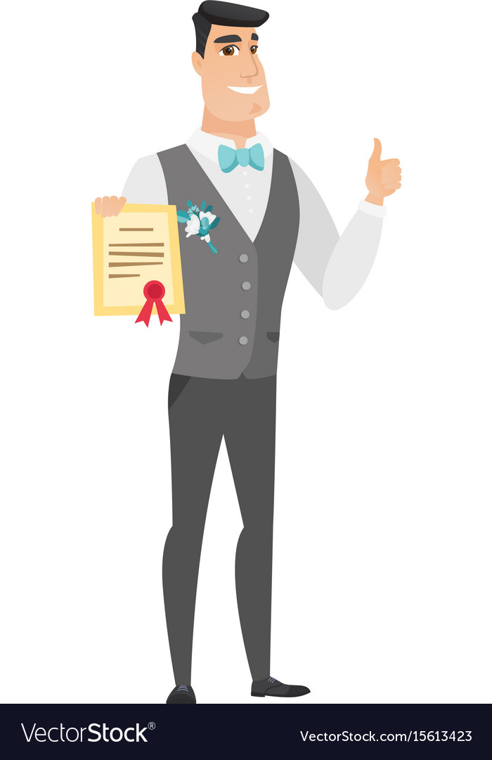 Young caucasian groom holding a certificate vector image