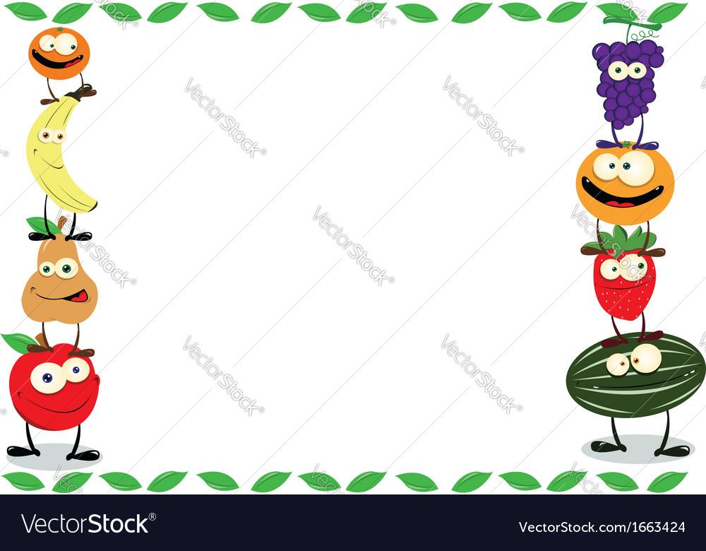 Funny Fruit Frame vector image
