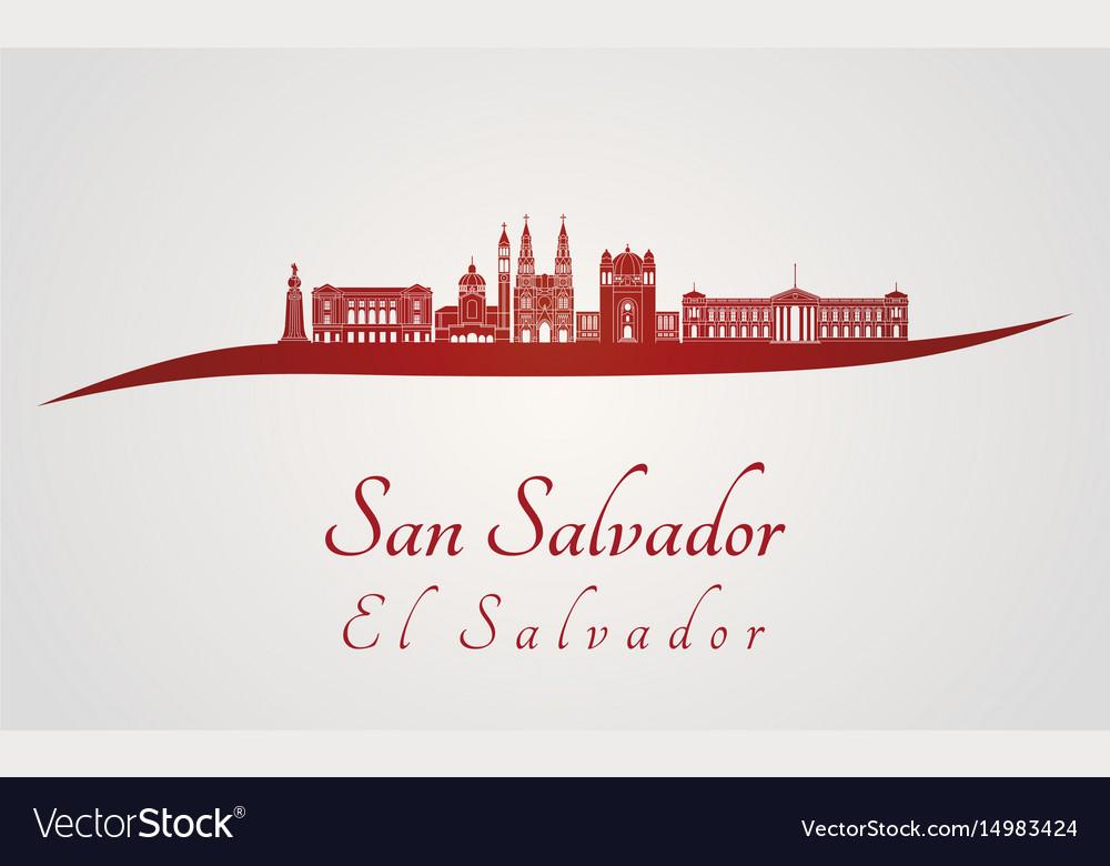 San salvador skyline in red vector image