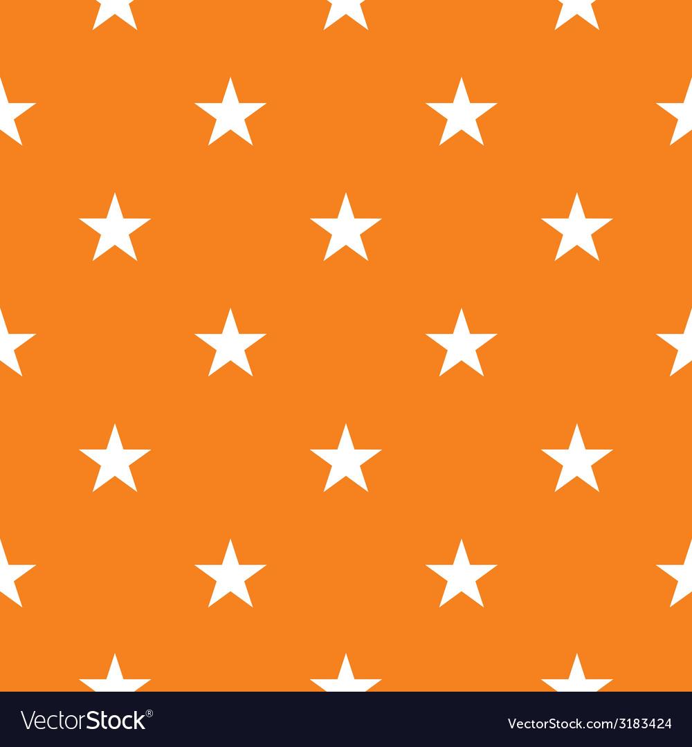 Tile Pattern With White Stars On Orange Background Vector Image